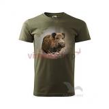 Kvalitné pánske poľovnícke tričko s krátkym rukávom s motívom diviaka