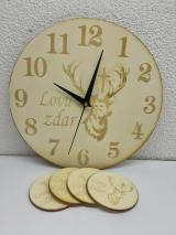 Drevené hodiny s podšálkami 1580 Jelen